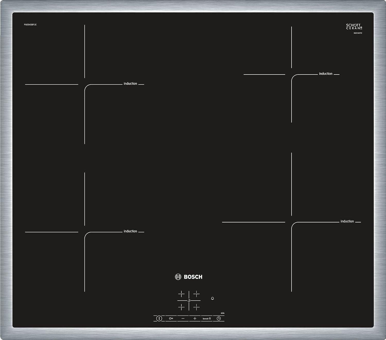 Acciaio inossidabile piano cottura Bosch Serie 4 PUE645BF1E Incasso A induzione Nero