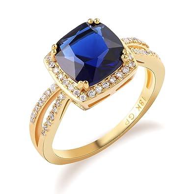 Amazon.com: GULICX Cojín Cortar sapphire-color Anillo Azul ...