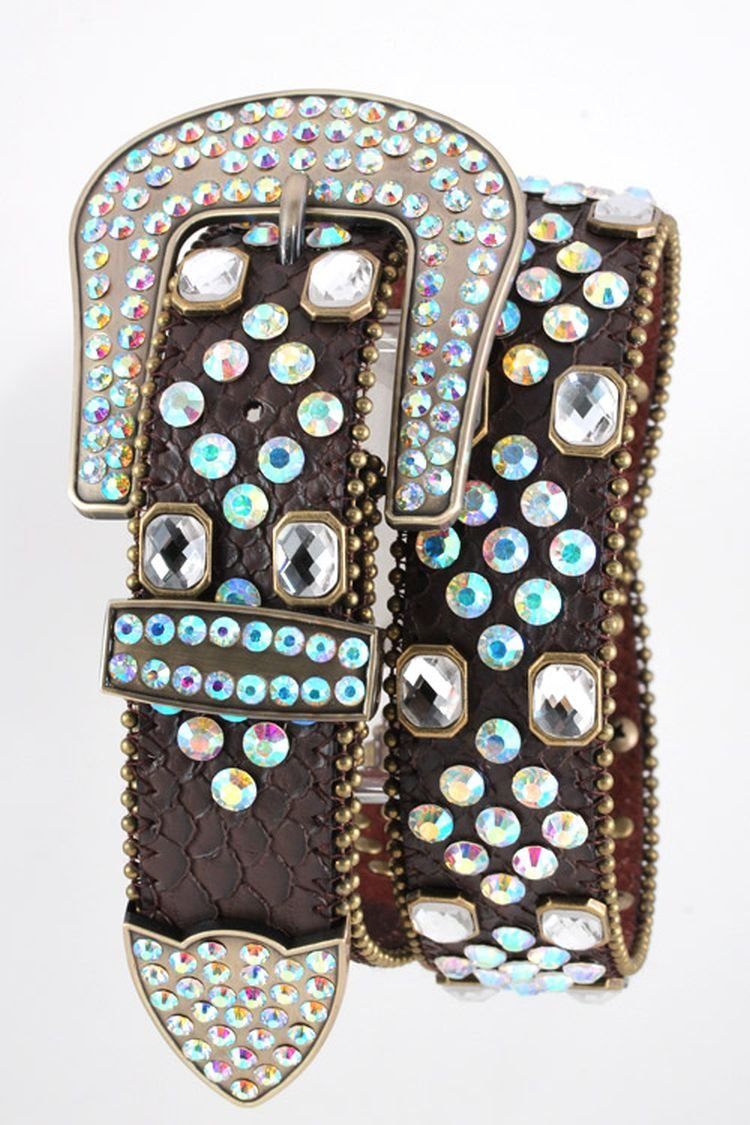 Chic Chelsea Mix Crystal Studded Fashion Western Belt (Brown)