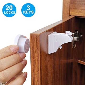 Child Safety Magnetic Cabinet Locks,TUSUNNY Baby Proofing Lock Kits Baby  Latches for Kitchen Cabinet Drawer Cupboard,Adhesive Magnet Drawers Locks  No ...