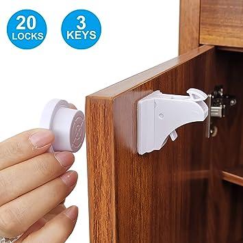 1 Keys Child Proof Kit Magnetic Cabinet Locks Safety Baby Set 4 Locks