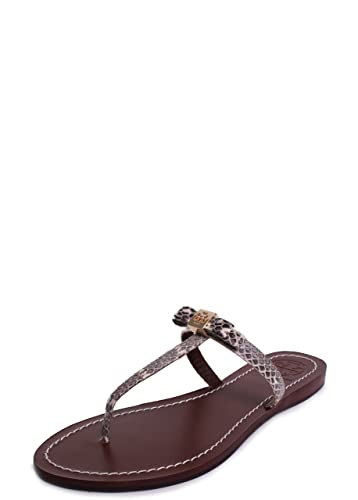 19452557ef5 Tory Burch Leighanne Dune Snake Print Flat Thong Sandals Natural Roccia  Size 8