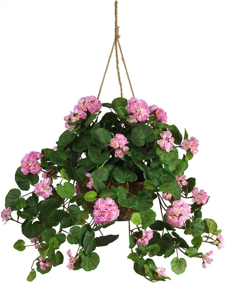 Nearly Natural 6609-PK 24in. Geranium Hanging Basket Silk Plant,Pink
