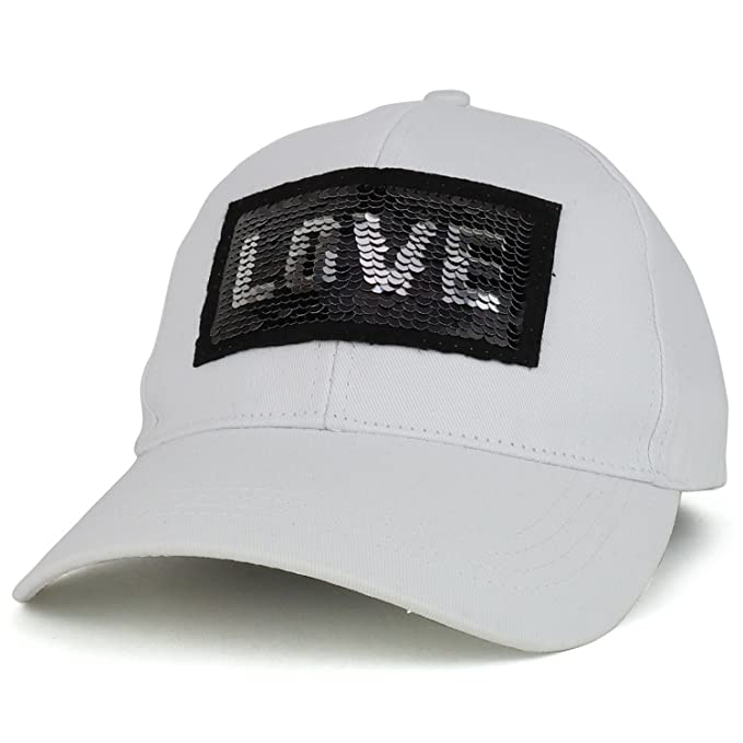 db9ac06e62b Trendy Apparel Shop Reversible Sequins Love Patch Bling Bling Cotton Baseball  Cap - White at Amazon Women s Clothing store