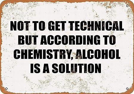 Alcohol Is A Solution Placa Cartel Vintage Estaño Signo ...
