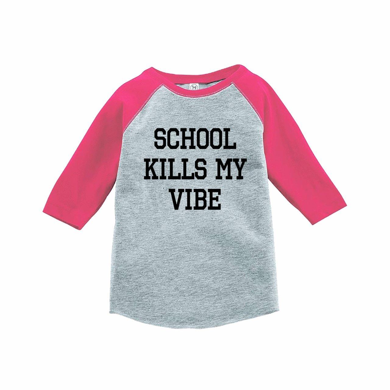 7 ate 9 Apparel Funny Kids School Vibes Baseball Tee Pink