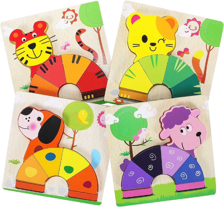 XDDIAS Puzzles de Madera Educativos, Juguetes Montessori para Bebé niños 1 2 3 4 5 6 años, Preescolar Juguetes Regalos, Regalo de cumpleaños, Navidad (4 Piezas) (Animal)
