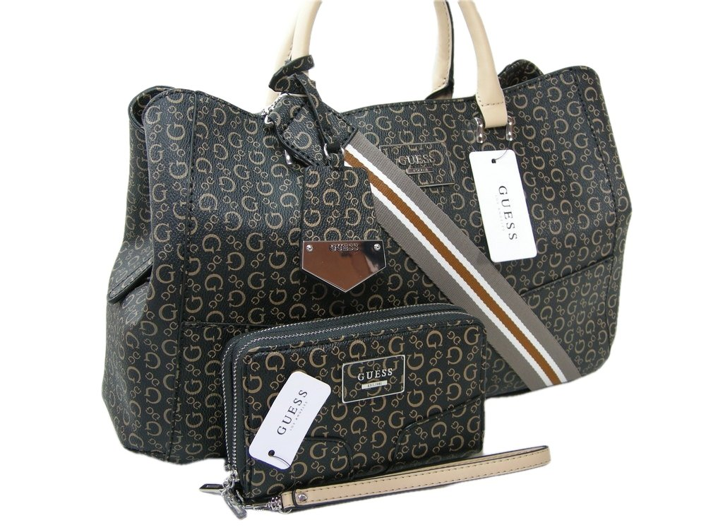 New Guess G Logo Purse Shoulder Tote & Wallet Set 2 Piece Matching Black Wicklow