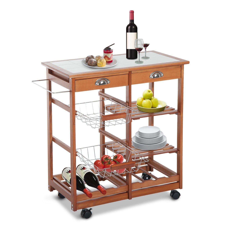 HOMCOM 30'' Wooden Rolling Kitchen Organizer Cart Tile Countertop With Basket Storage Wine Rack