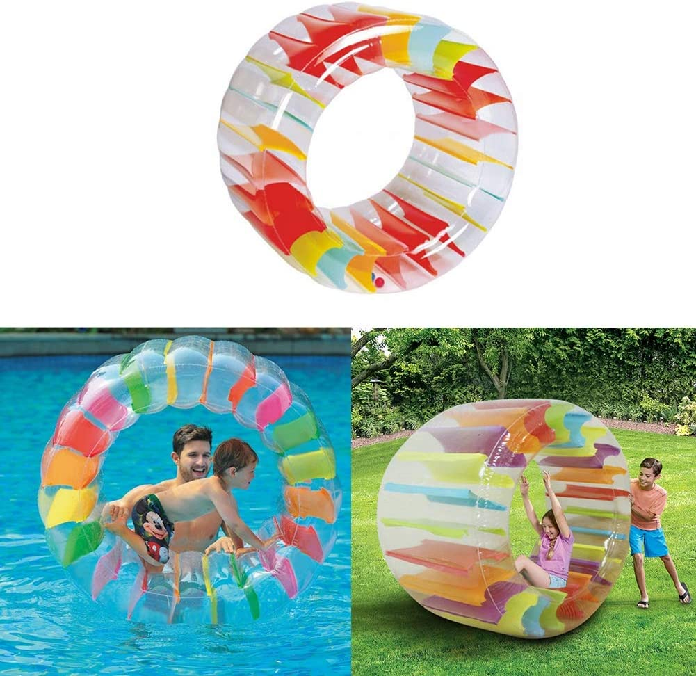 YINUODAY Juguetes de Piscina para Niños Flotadores Inflables de Piscina con Bomba de Aire Bola de Agua para Caminar Bola de Hámster Humano para Patio Exterior 40 X 23. 6 Pulgadas