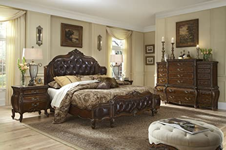 Lavelle Melange Wing Leather Bed 2 Nightstand Dresser Mirror Bedroom Set By  Aico