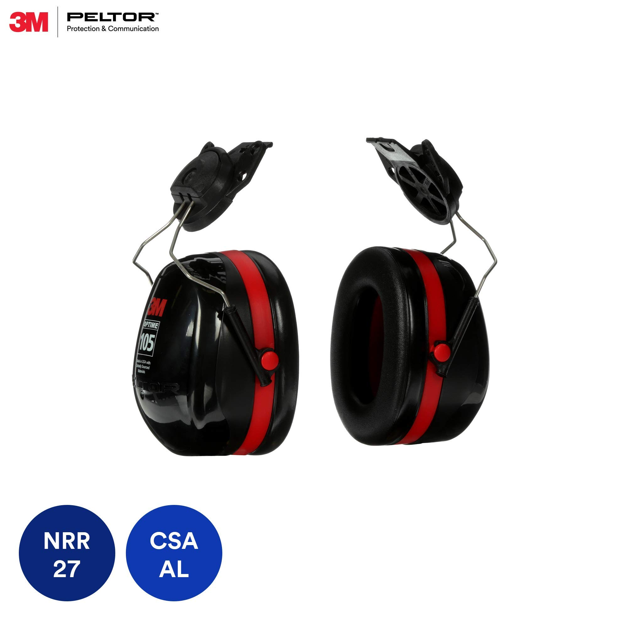 3M Peltor Optime 105 Cap-Mount Earmuffs, Hearing Conservation H10P3E