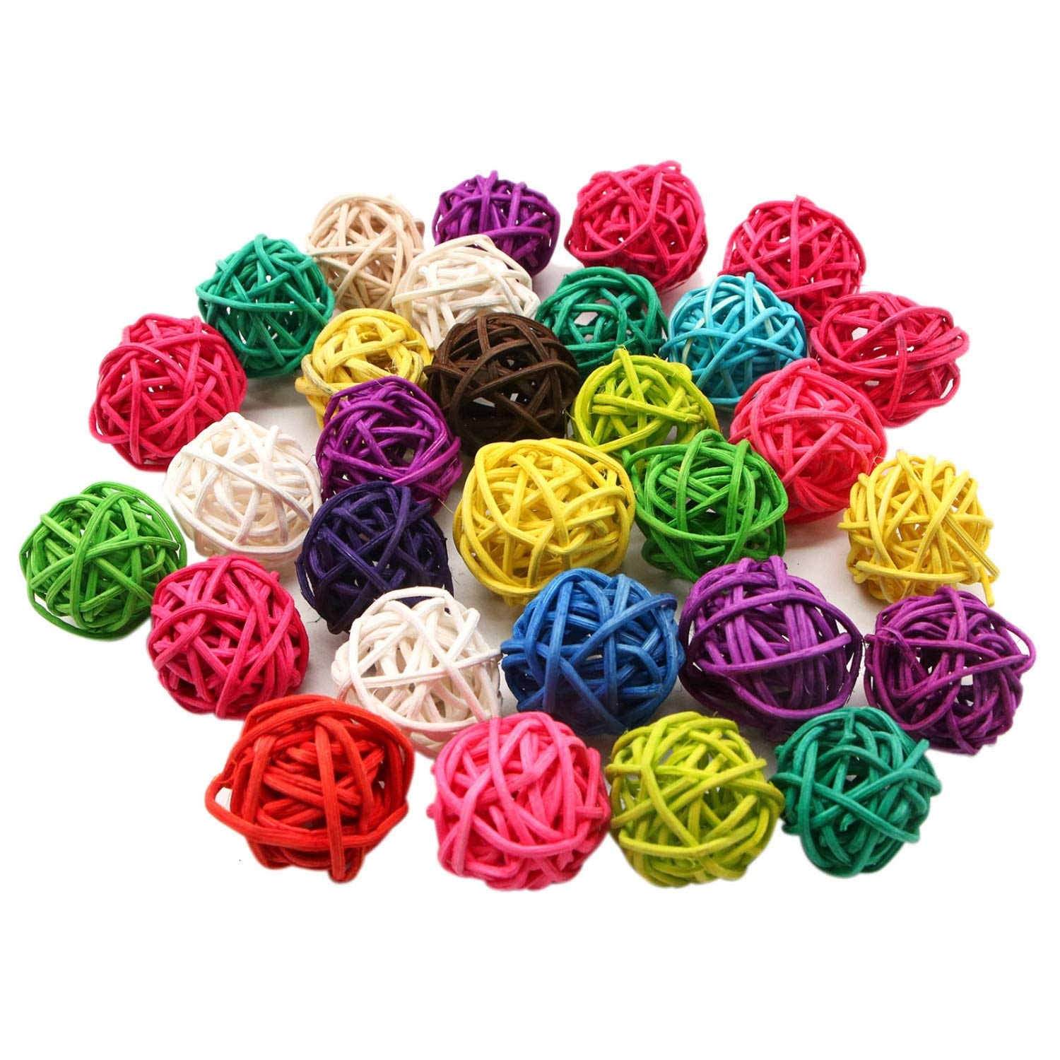JETEHO 30 Pack Birds Toy Rattan Toy Balls Birdsor Parrot Budgie Parakeet Chewing Toys Pet Bird Chew Toy Table Wedding Party Decorative Crafts Hanging DIY Accessories