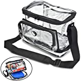 Sturdy Premium Large Clear Lunch Bag w/ Adjustable Strap & 4 Storage Compartments Including Dedicated Reusable Cold Pack Pocket
