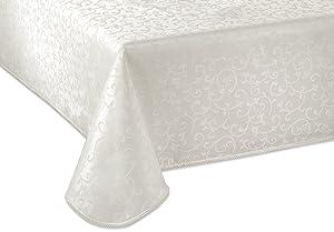 "Lenox Opal Innocence 60""x120"" Oblong Tablecloth, Platinum"