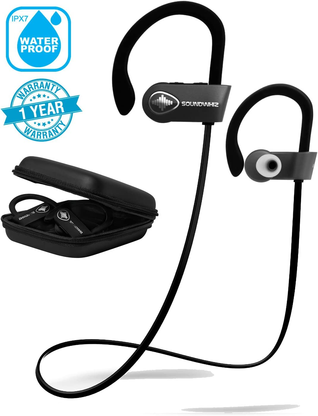 Wireless Earbuds in Ear Headphones. SoundWhiz Turbo Sweatproof Workout Earbuds with Microphone. Best Bluetooth Earbuds for Running, Sports, Gym, Exercise. Connects to Fitness Trackers Smart Watches