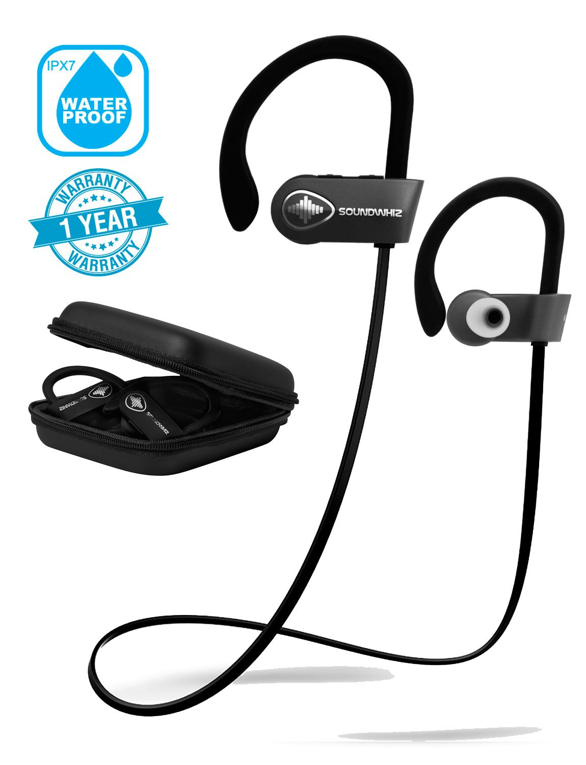 In Ear Wireless Sport Headphones - SoundWhiz Waterproof Workout Earbuds - w Noise Cancelling Mic & Siri. Best Running Headphones 8 Hours Play by SoundWhiz