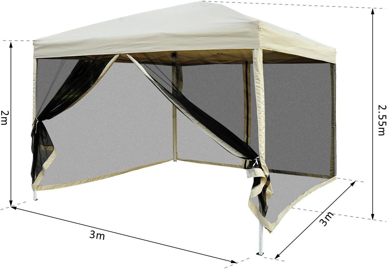 Outsunny Tonnelle Barnum Style Colonial Toile moustiquaires Amovibles 3L x 3l x 2,7H m m/étal /époxy Polyester Chocolat et Blanc