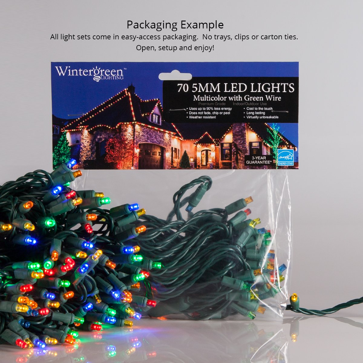 59e93286d4 5mm LED Wide Angle Warm White Prelamped Light Set, Green Wire - 70 5mm Warm  White LED Christmas Lights, 4