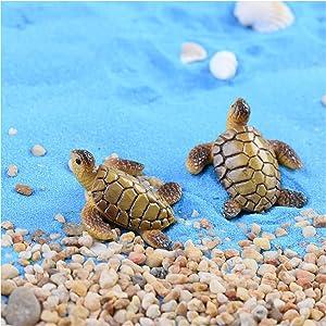 MAOMIA 8 Pcs Resin Beach Sea Turtle Miniature Figurine, Fish Tank Decoration Fairy Garden Dollhouse Landscape Decor Ornament