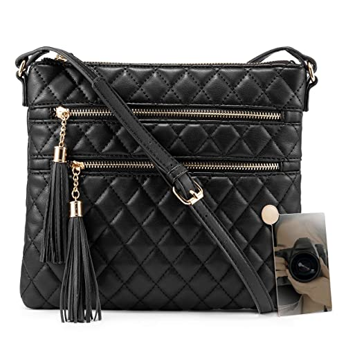 Leather Crossbody Bag for Women, Quilted