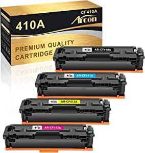 Arcon Compatible Toner Cartridge Replacement for HP 410A CF410A 410X uesd for HP Color Laserjet Pro MFP M477fnw M477fdw M477fdn M452dn M452dw M452nw Printer 410A 410X Toner (Black Cyan Yellow Magenta)