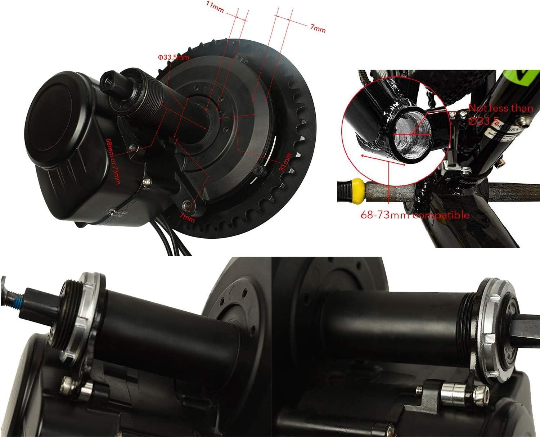 Pswpower 36/V 250/W//350/W//500/W Bicicleta el/éctrica tsdz2/Central Mid Motor con par de torsi/ón Sensor y vlcd5//xh-18/Pantalla LCD