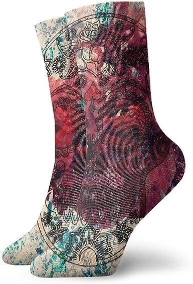 Unisex High Ankle Cushion Crew Socks Flower Texture Casual Sport Socks