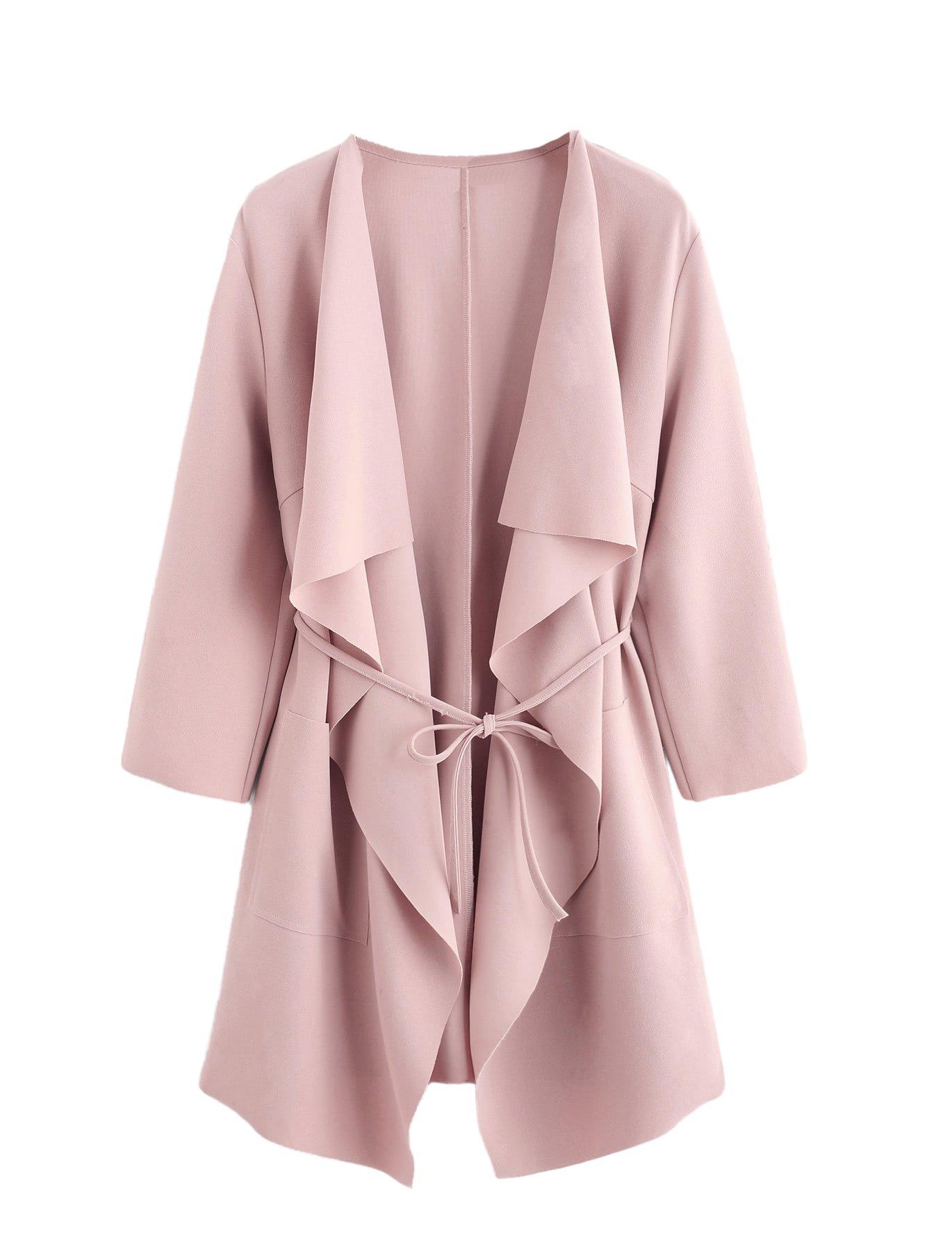 Romwe Women's Raw Cut Hem Waterfall Collar Long Sleeve Wrap Trench Coat Cardigan Pink M