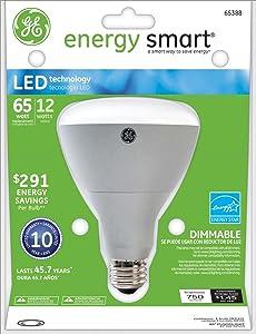 GE Lighting 65388 Energy Smart LED 12-Watt (60-watt replacement) 750-Lumen R30 Floodlight Bulb with Medium Base, 1-Pack