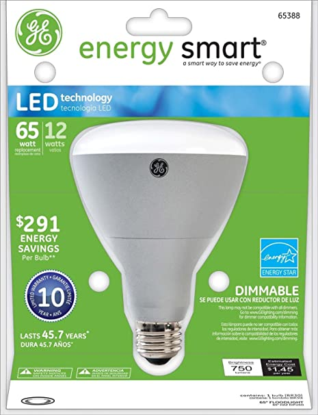 GE Lighting 65388 Energy Smart LED 12-Watt (60-watt replacement) 750-Lumen R30 Floodlight Bulb with Medium Base, 1-Pack - Led Household Light Bulbs ...