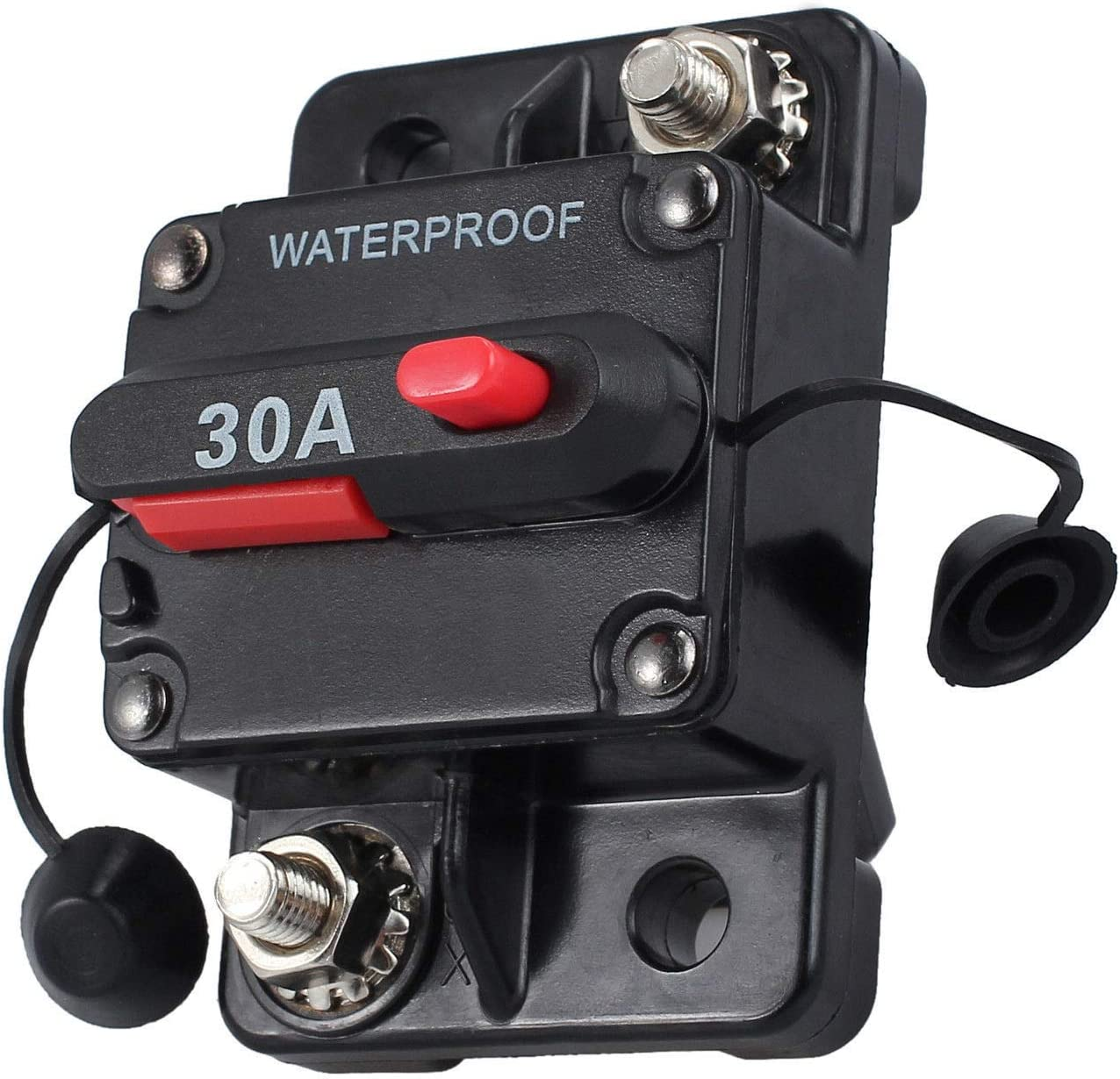 MASO 30 Amp Waterproof Car Circuit Breaker with Manual Reset Suitable for Motor Auto Car Marine Boat Bike Stereo Audio 12V-24V DC: Automotive