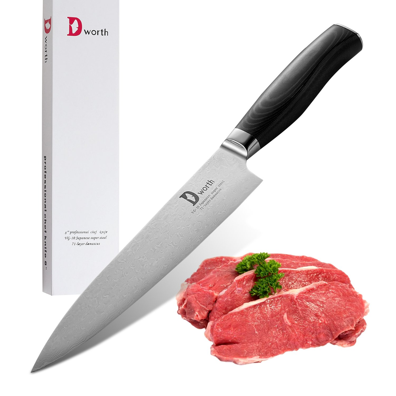 Dworth Chef's Knife - VG10 71 Layer Hammered Finish- 8-Inch Chef knife with Gift Box