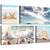 Beach Scene Canvas Wall Art: Large Shoreline Artwork Painting Print for Wall Decor(12''x12''x2panel+24''x12''x2panel)