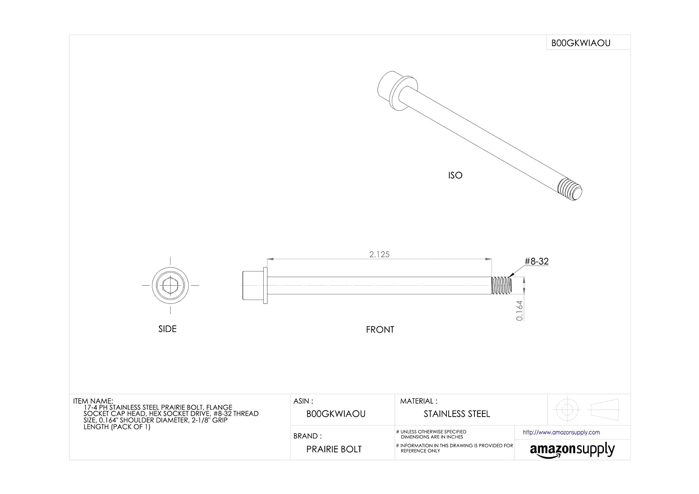 0.164 Shoulder Diameter Flange Socket Cap Head 0.164 Shoulder Diameter 2-1//8 Grip Length Accurate Manufacturing Made in US Pack of 1 Hex Socket Drive 17-4 PH Stainless Steel Prairie Bolt Plain Finish 2-1//8 Grip Length #8-32 Thread Size