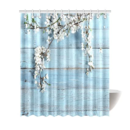 White Flower Shower Curtain A Branch With Spring Flowers On Wooden Planks Fabric Bathroom