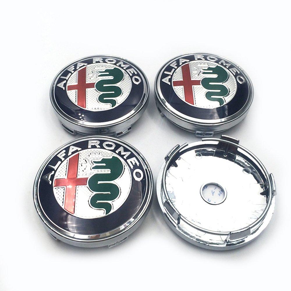 Hanway 7pcs Alfa Romeo Emblem Sticker 74mm Hood Trunk Wheel Centre Caps Steering Badge 60mm Center Cap Hub Emblems Chrome Automotive