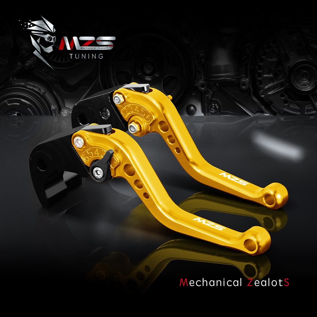 MZS Short Brake Clutch Levers for Yamaha YZF R1 R1M R1S 2015-2018// YZF R6 2017-2018 Black