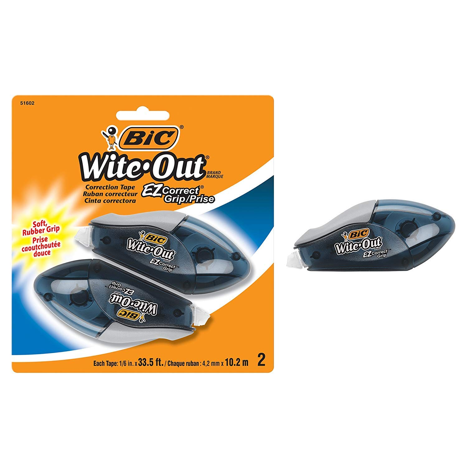 BIC Wite-Out Brand EZ Correct Grip Correction Tape, White, 2-Count [New Improved Version]