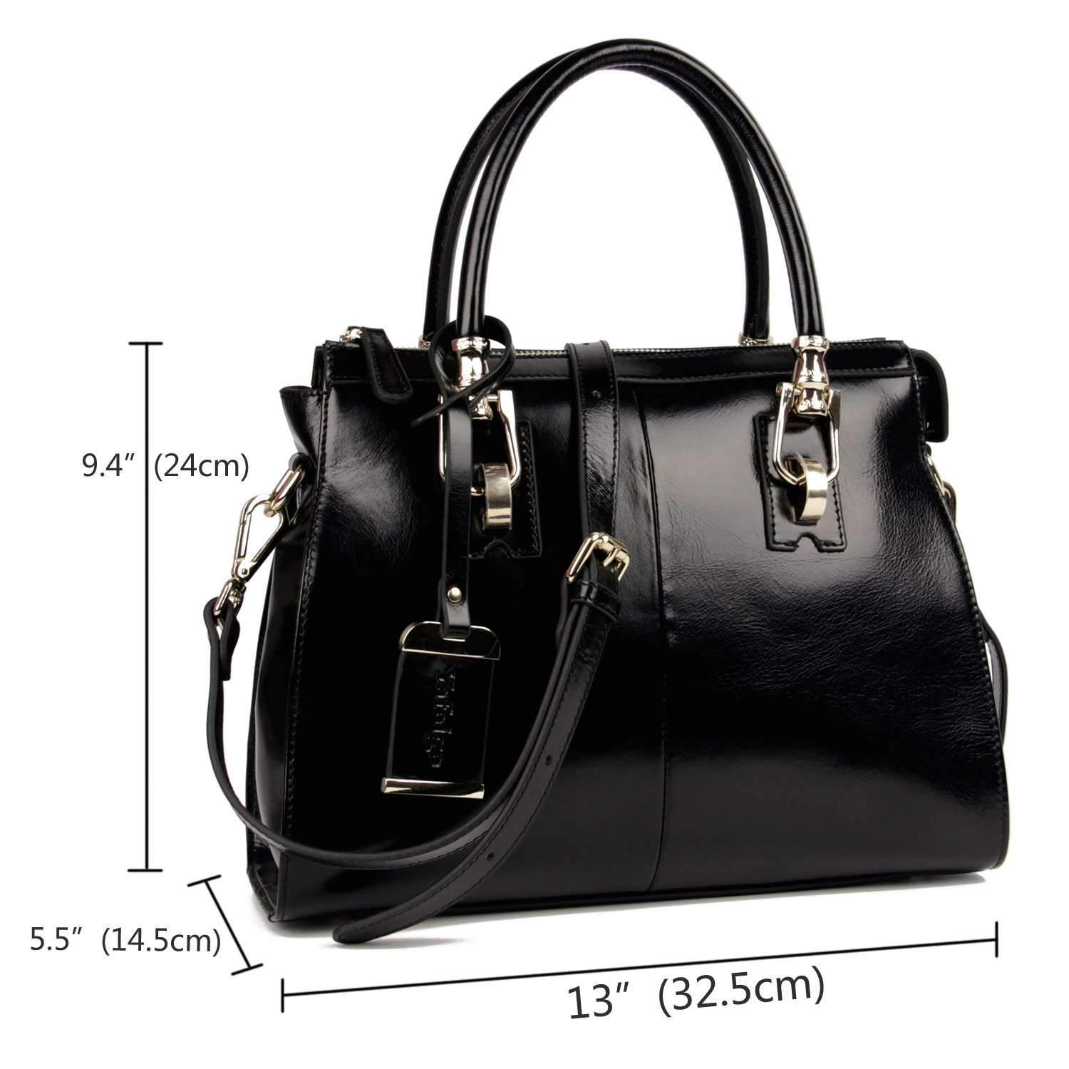 b86ffe50bf07 Amazon.com  Yafeige Womens Lady s Handbag Vintage Luxury Wax Genuine Leather  Tote Shoulder Bag Satchel Purse(Black)  Clothing
