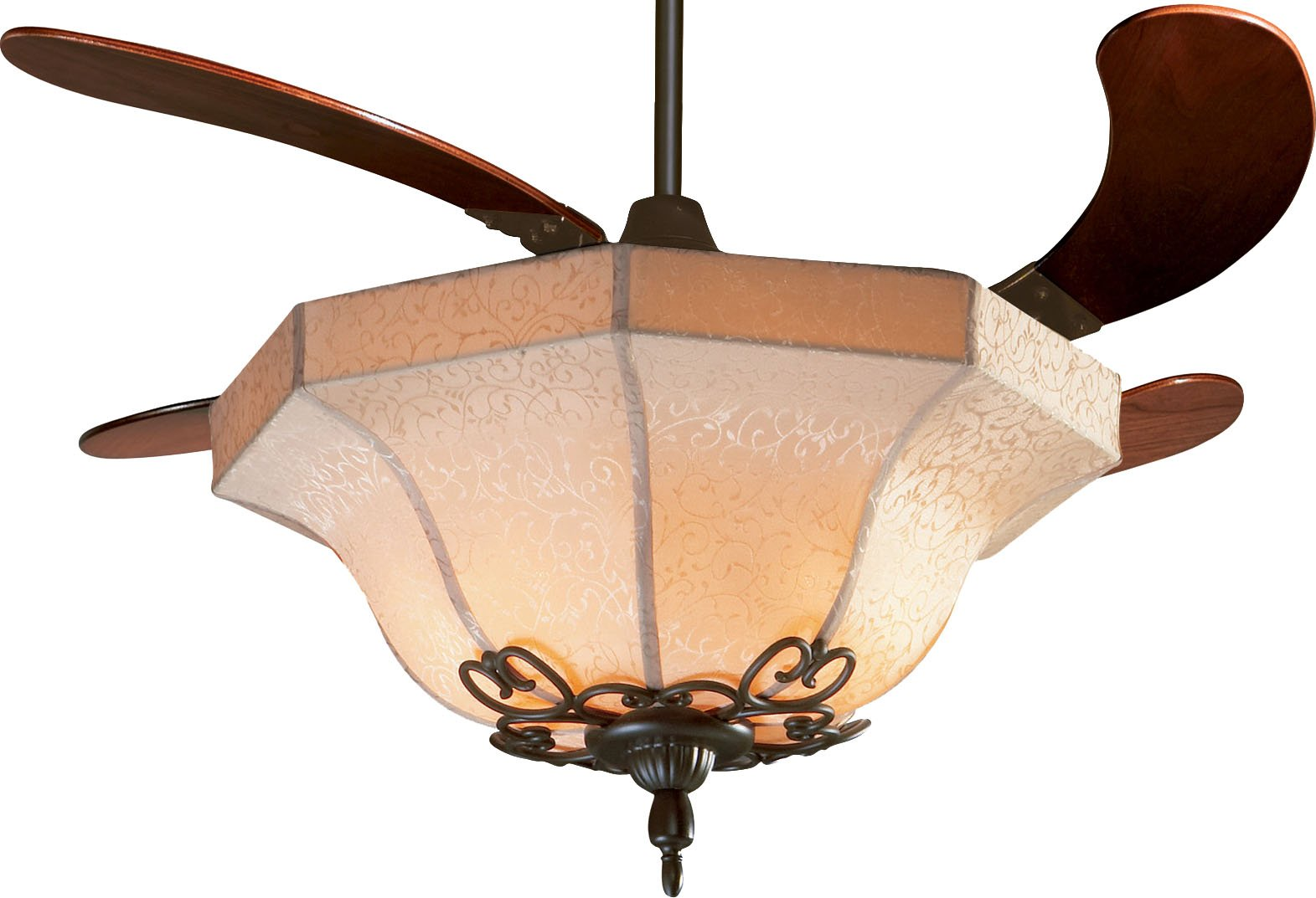 Fanimation FP815FS Air Shadow Fabric Shade Ceiling Fan with 4 Cherry Blades and Fabric Shade, Oil Rubbed Bronze Finish