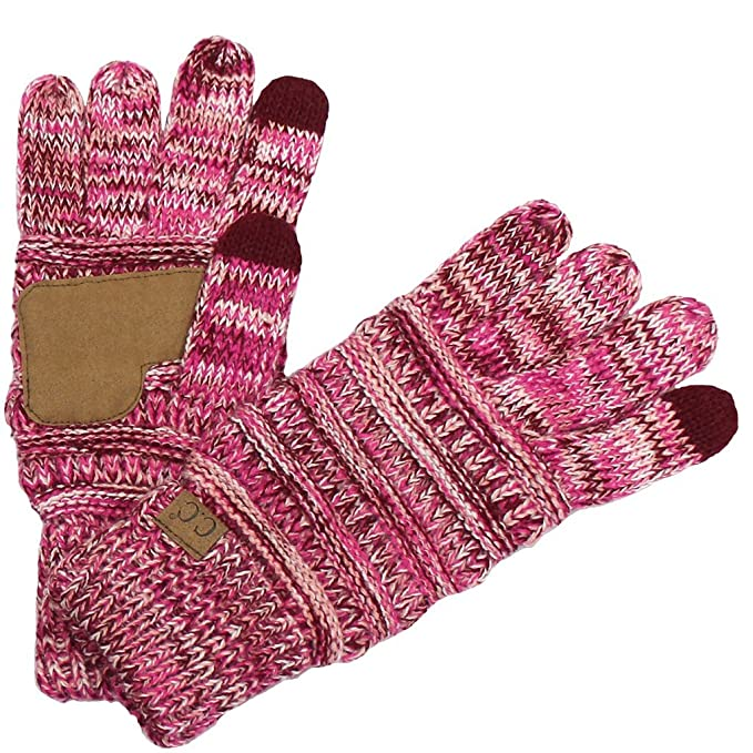 6b4a8f694f9d5 BYSUMMER C.C. Smart Touch Winter Warm Knit Touchscreen Texting Gloves ( 1  Burgandy Pink Multi
