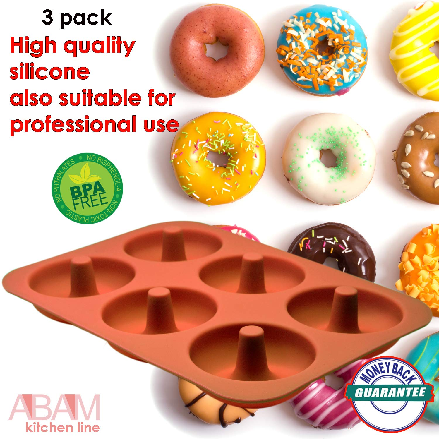 Professional Premium Silicone Donut Pan 3-Pack - Non Stick Doughnut Pans for Baking with 6 Slots - Reusable Bagel Mold Tray for Prolonged Use - Microwave, Freezer & Dishwasher Safe Silicon Molds