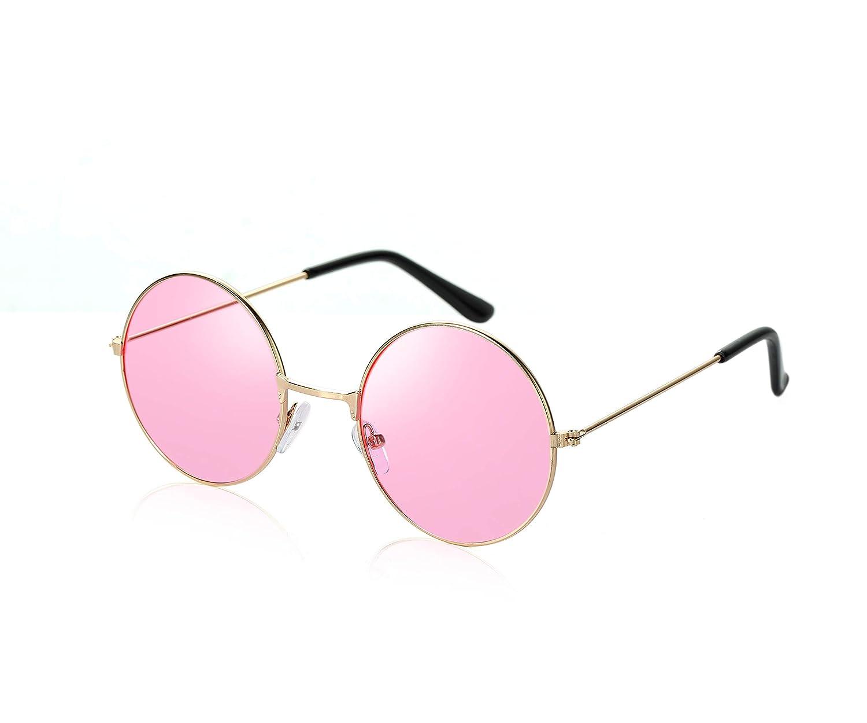 John Lennon Style Pink Flat Lens Round Sunglasses UV400 Protection