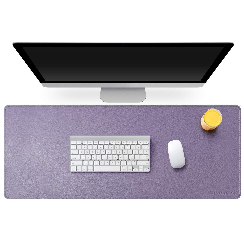 Viola Chiaro Mydours Pad per Scrivania Multifunzionale in Pelle PU Tappetino per Mouse da Gaming Grande Impermeabile per Ufficio e Casa Dimensioni 95 x 40 cm