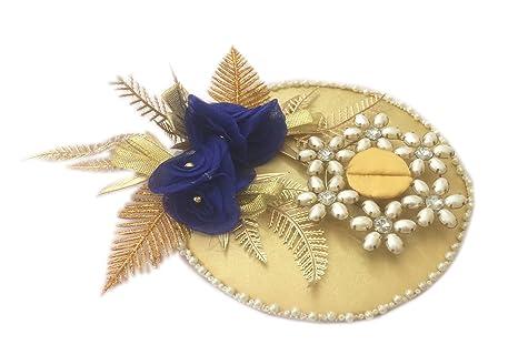 Buy Loops N Knots Blue Golden Wedding Engagement Ring Platter