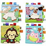 Fabric Baby Cloth Books KINBON Activity Crinkle Non-Toxic Soft Baby's First Book Early Educational Toys for Toddler Infants and Kids Gifts ( Pack of 4 )