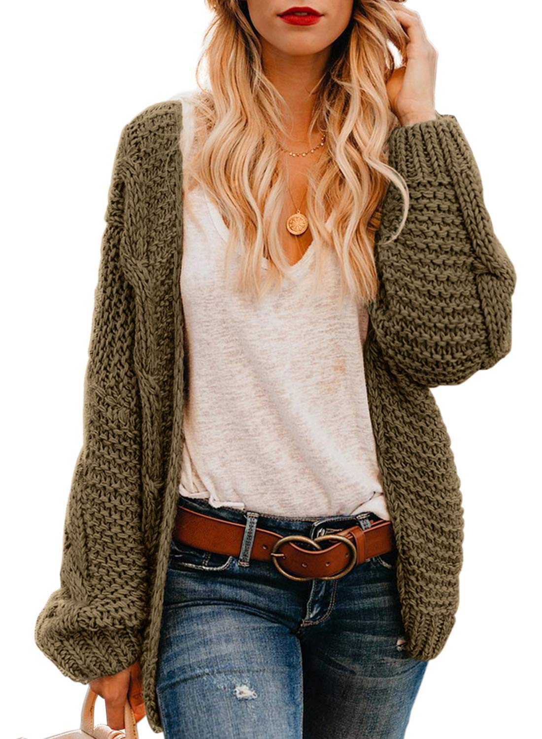 Astylish Womens Cardigans Ladies Autumn Warm Cozy Open Front Long Sleeve Chunky Cable Knit Ribbed Cardigan Sweater Olive Brown Large by Astylish