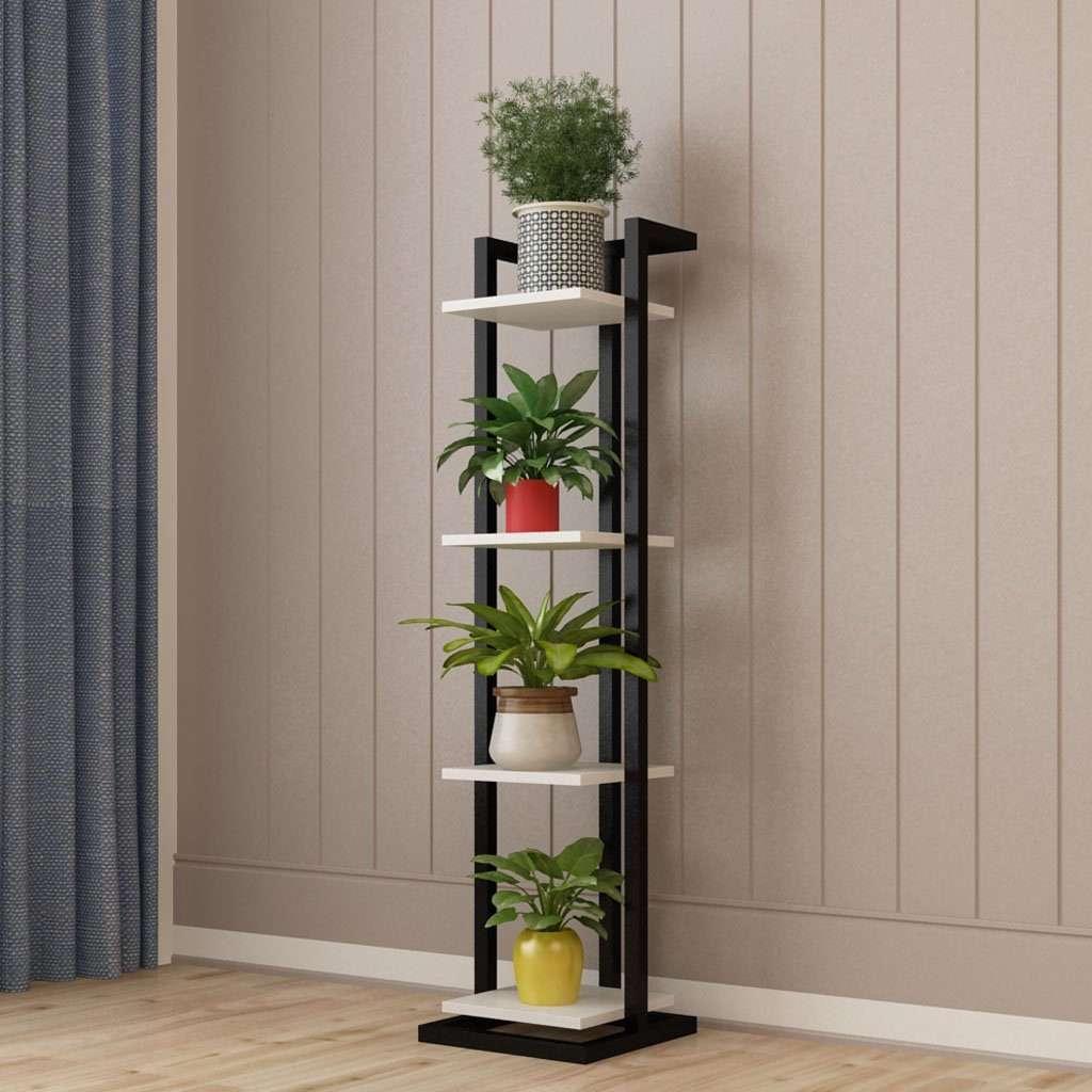 NAUY Living Room Steel Wood Flower Stand Narrow Iron Art Multilayer Indoor Multifunction Succulents Green Radish Shelves Bedroom Decorative Frame Landing (Color : Black(a), Size : 3-layer) yuan shop