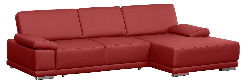 Lederecke Corianne/3er Bett-Longchair/282x80x162 cm/Leder Punch feuer rot-Poroflex softy rot